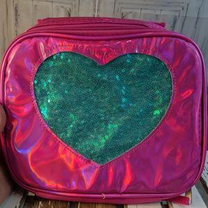 wonder nation lunch school bag tote sequin heart m